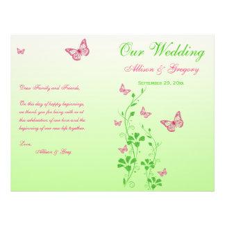 Programa floral del boda de la mariposa rosada, ve flyer personalizado