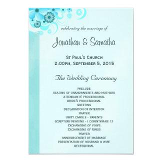 """Programa floral del boda de la turquesa azul invitación 5"""" x 7"""""""
