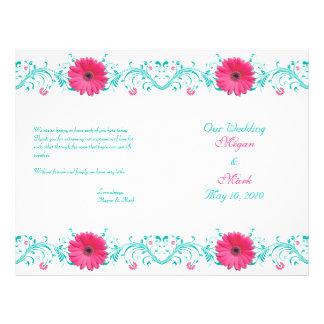 "Programa floral del boda de la turquesa rosada de folleto 8.5"" x 11"""