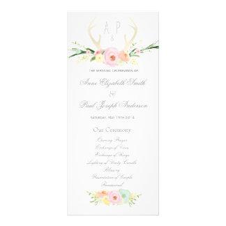 Programa floral del boda de las astas plantillas de lonas