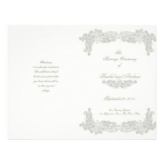 """Programa floral del boda de los gris plateados del folleto 8.5"""" x 11"""""""