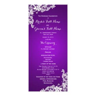 Programa floral del boda del cordón de la púrpura  tarjetas publicitarias a todo color