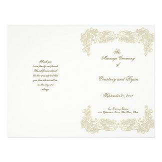 "Programa floral del boda del cordón del país del v folleto 8.5"" x 11"""