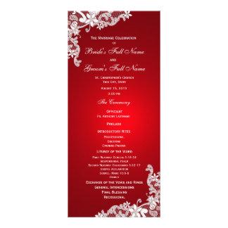 Programa floral del boda del cordón del rojo y del diseño de tarjeta publicitaria