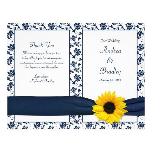 Programa floral del boda del damasco de la marina  tarjetones