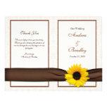 Programa floral del boda del damasco del girasol flyer personalizado