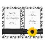 Programa floral del boda del damasco del girasol tarjetas publicitarias