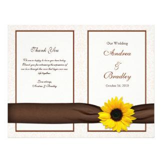 """Programa floral del boda del damasco del girasol folleto 8.5"""" x 11"""""""