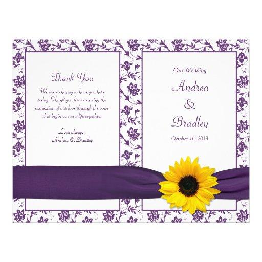 """Programa floral del boda del damasco púrpura del folleto 8.5"""" x 11"""""""
