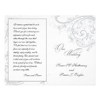 Programa floral del boda del estaño elegante tarjetones