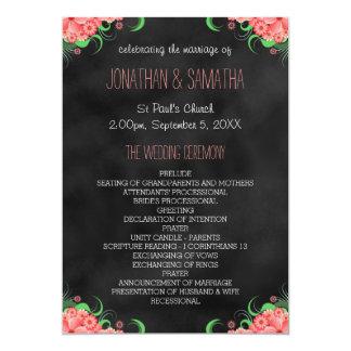 """Programa floral del boda del rosa negro de la invitación 5"""" x 7"""""""