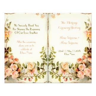 "programa floral lindo del boda, rosas folleto 4.5"" x 5.6"""