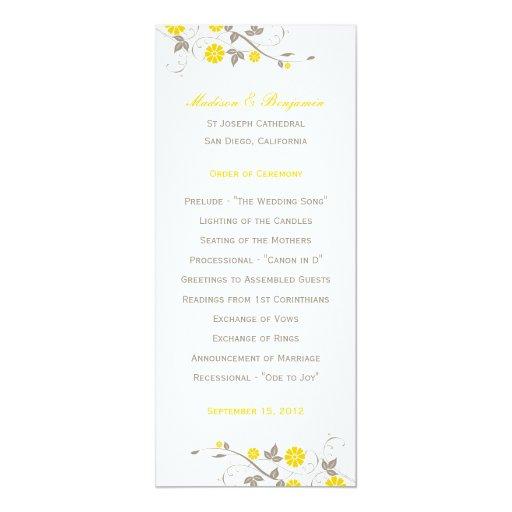 Programa floral moderno del boda - mostaza comunicado personal