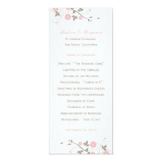 Programa floral moderno del boda - suavemente rosa comunicados personalizados