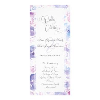 Programa floral púrpura del boda de la acuarela tarjeta publicitaria a todo color