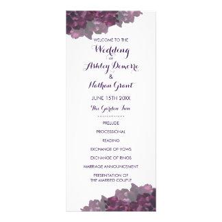 Programa floral púrpura del boda lonas