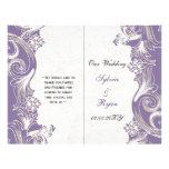 Programa floral púrpura elegante del boda del dobl tarjetas publicitarias