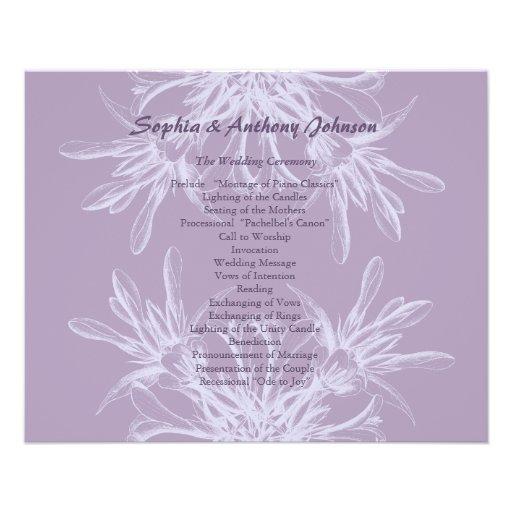 Programa floral púrpura polvoriento del boda tarjetón