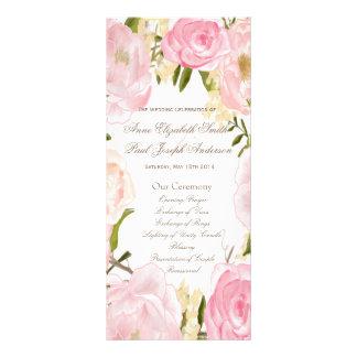 Programa floral romántico del boda plantilla de lona