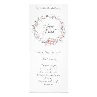 Programa floral rústico del boda tarjetas publicitarias