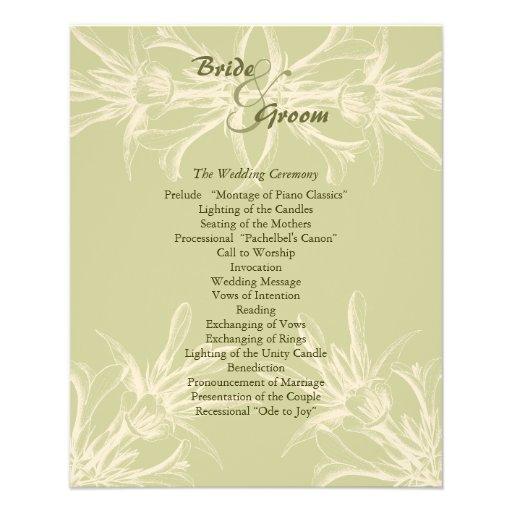 Programa floral verde oliva antiguo del boda tarjeton
