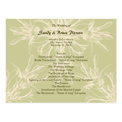 Programa floral verde oliva antiguo del boda postales