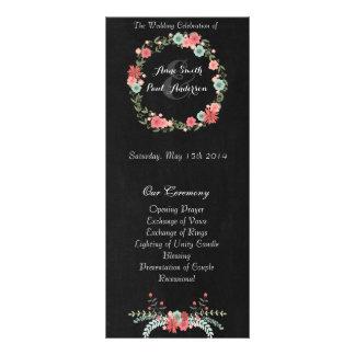 Programa floral y de la pizarra II del boda Tarjeta Publicitaria A Todo Color