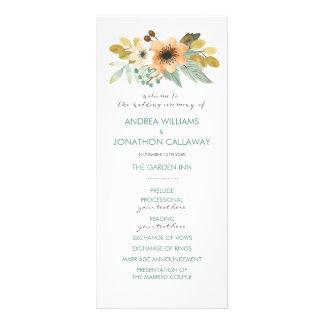 Programa floreciente del boda de la acuarela lona publicitaria
