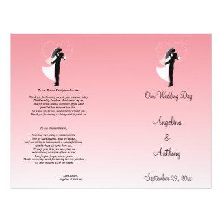 Programa formal del boda de la silueta rosada de O Tarjetones