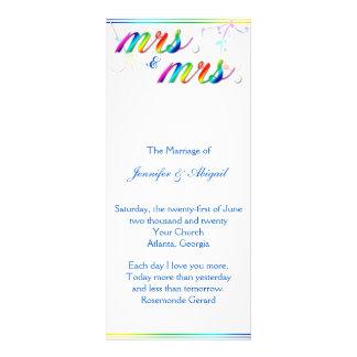 Programa gay floral del boda del arco iris tarjeta publicitaria