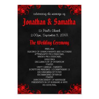 """Programa gótico del boda de la pizarra negra invitación 5"""" x 7"""""""