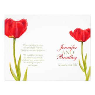 "Programa grande del boda del tulipán del arte rojo folleto 8.5"" x 11"""