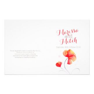 "Programa gris anaranjado del boda del wildflower folleto 5.5"" x 8.5"""