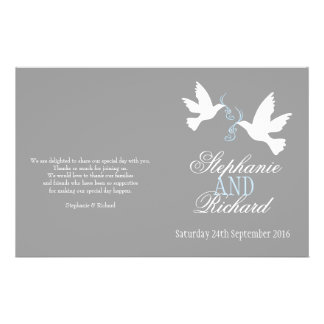 "Programa gris blanco del boda de la cinta azul de  folleto 5.5"" x 8.5"""