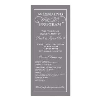 Programa gris elegante del boda del remolino invitación 10,1 x 23,5 cm