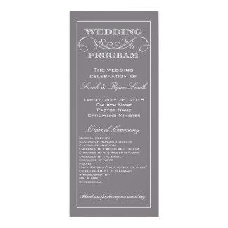 Programa gris moderno elegante del boda del invitación 10,1 x 23,5 cm