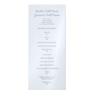 """Programa gris plateado pintado del boda de los invitación 4"""" x 9.25"""""""