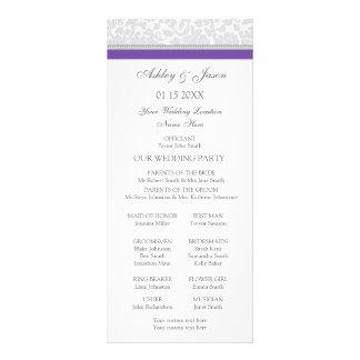 Programa gris púrpura del boda del damasco lonas