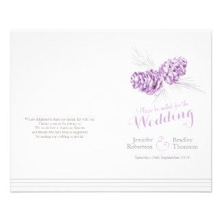 Programa gris púrpura del boda del otoño del tarjetón
