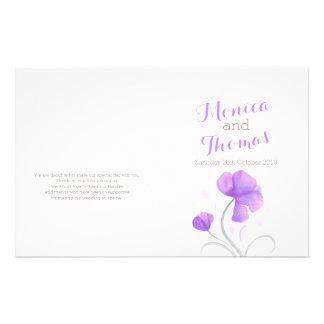 Programa gris púrpura del boda del wildflower de folleto 14 x 21,6 cm