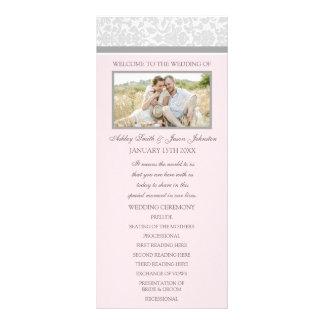 Programa gris rosado del boda de la foto del damas tarjetas publicitarias personalizadas