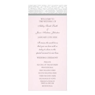 Programa gris rosado del boda del damasco tarjeta publicitaria a todo color