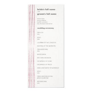 """Programa gris y rosado de la paloma del boda invitación 4"""" x 9.25"""""""