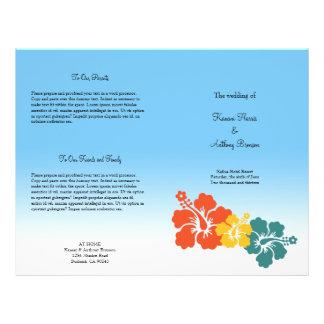 """Programa hawaiano del boda de playa de la flor del folleto 8.5"""" x 11"""""""