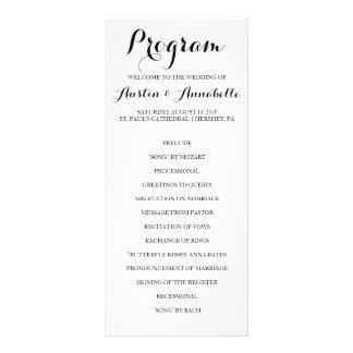 Programa indicado con letras del boda de la lona publicitaria