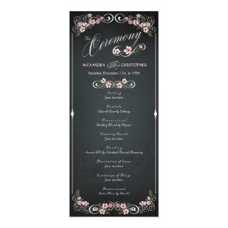 Programa intrépido del boda del vintage floral de invitación 10,1 x 23,5 cm