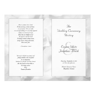 """Programa largo floral blanco y negro de la folleto 8.5"""" x 11"""""""