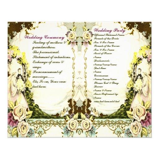 programa lindo del boda del vintage flyer personalizado