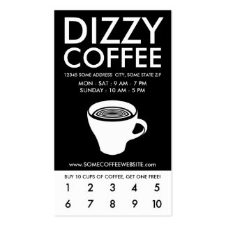 programa mareado de la lealtad del café tarjetas de visita
