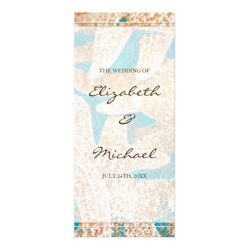 Programa moderno del boda de las estrellas de mar tarjeta publicitaria